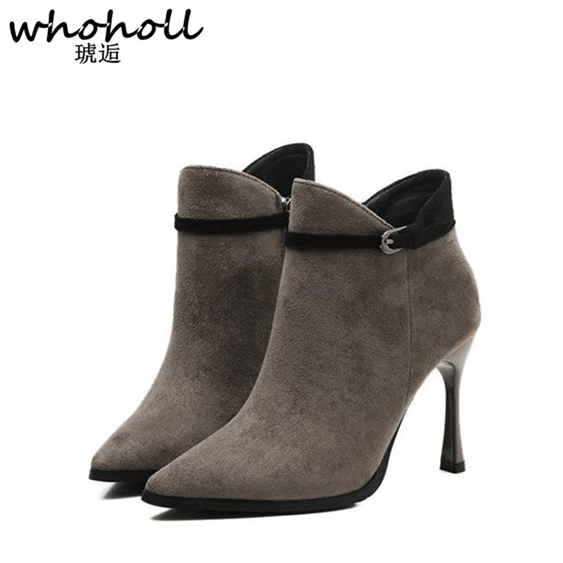 WHOHOLL 2017 NEW Fashion Women Boots Pointed Zapatos Mujer PU Leather Short Tube Pump Boots High Heels Hot Sale Women Shoes<br>
