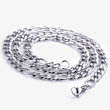 7mm Mens Figaro Chain Silver Vintage Stainless Steel Necklace Chain High Quality Fashion Jewelry 2016