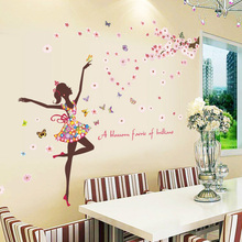 90X30cm PVC Flower Fairy Girl Wall Sticker for Living Room Girls Bedroom Background Wall Art Decor DIY Wall Stickers Decal
