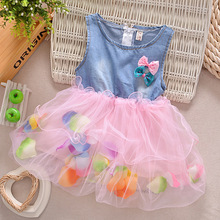 2017 Rushed Knee-length New Fashion Summer Colorful Mini Tutu Dress Petal Hem Floral Clothes Princess Baby For Dresses Girl