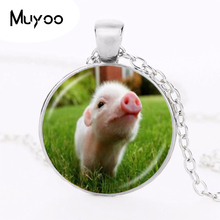 Buy Cute Little Baby Pig Necklace Piggy Pendant Animal Jewelry Glass Cabochon Sweater Necklace Long Chain Statement Necklace HZ1 for $1.39 in AliExpress store
