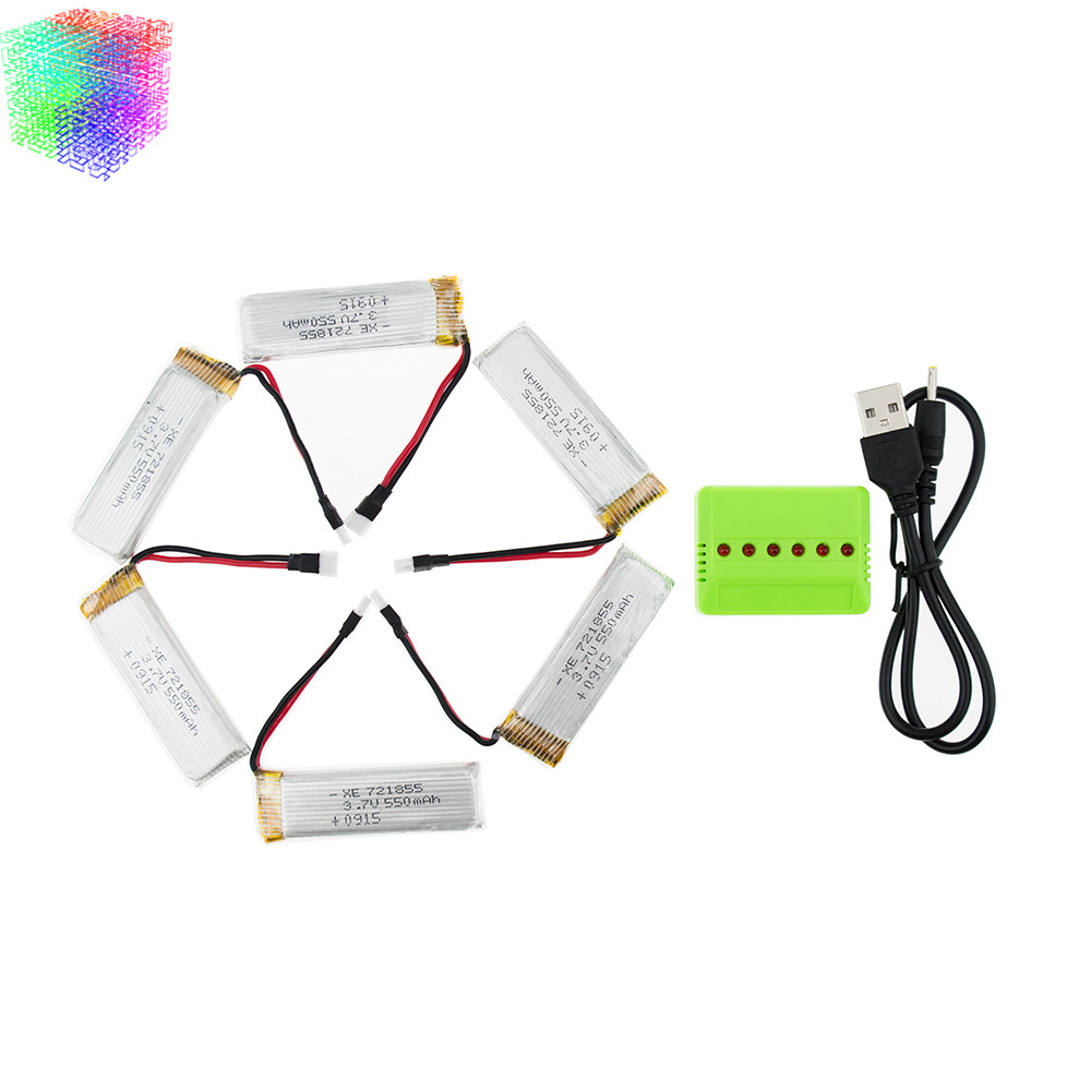 3.7v 550mah Lipo 6pcs Batteries And Charger For Wltoys V977 V930 Rc Helicopter Drone Spare Part Jjrc H37 Battery<br><br>Aliexpress