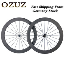 OZUZ Ship From Germany Ultra Light Carbon Wheels 700C 50mm deep Clincher 23mm Width Powerway R13 Hub Racing Road Bike Wheelset
