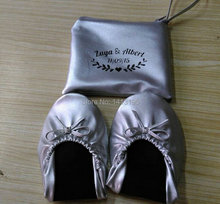 Free shipping ! 2017 New customized logo silver and gold ballerinas foldable shoes with pouch