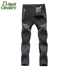 Softshell Pants Men Breathable Thermal Waterproof Pants Men Outdoor Sport Camping Hiking Pants Fleece Outdoor Pants HMB0081-5(China)