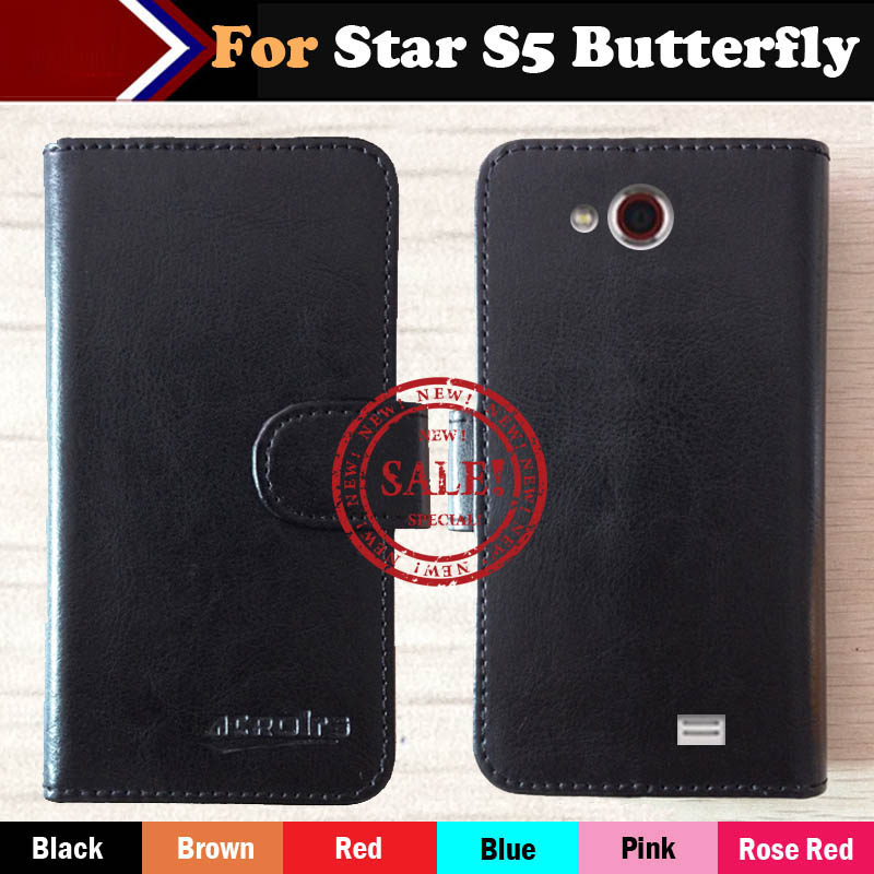 Factory Price Star S5 Butterfly Case Flip Ultra-thin Customize Leather Protective Phone Cover Wallet Stand Function Design(China)
