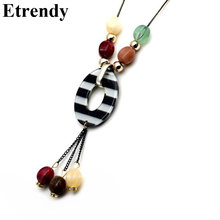 Ethnic Jewelry Long Pendant Necklace Women Bijoux New Trendy Dress Sweater Necklaces Accessories Black Chains Christmas Gifts(China)