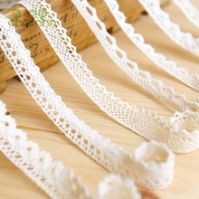 Knitted Cotton Lace Ribbon Beige Color,5 Yard/Piece,DIY Handmade,Wedding Party/Craft & Gift Packing/Child Dress/Decoration HB003(China)