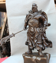 "free shipping Nice Discount 20"" Chinese Padauk Wood Guan Gong Yu Warrior God Ride Horse Sword carve Statue"
