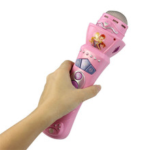 Free Shipping Pink New Wireless Toys for Girls boys Children LED Microphone Mic Karaoke Singing Pretend Kids Funny Gift Music(China)
