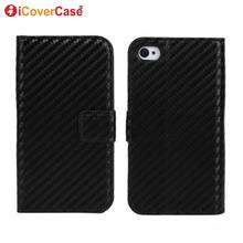 Cover for iPhone 4 Case Flip Capa Fundas for iPhone 4s Coque Funda Movil Phone Cases Carbon Fiber Textured Wallet Leather Shell