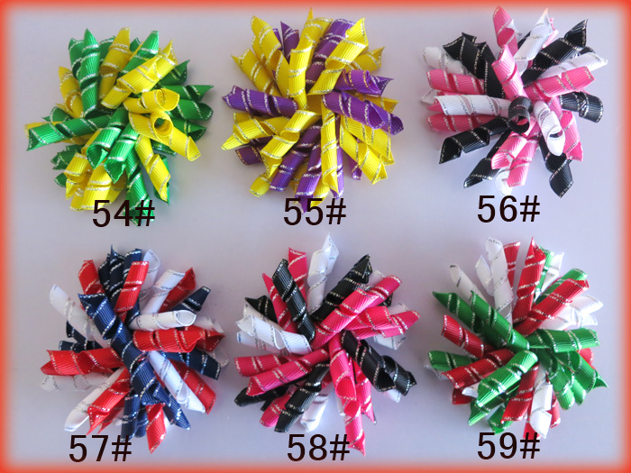 50 BLESSING Good Girl 3.5 Corker Hair Bows Clip Silver Side Grosgrain 65 No.<br>