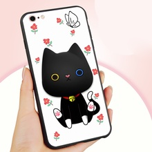 i6 Plus Cover phone 3D Cute Cartoon Earphone Winder Stand PC+Silicone Case iPhone 6 lovely fundas-Cat Flower - No.5 3C Store store