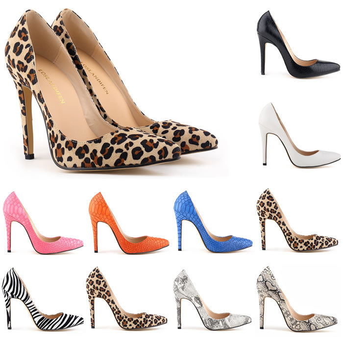 Fashion Snake Zebra Leopard Print Leather Shallow Pointed Toe Thin Heels Womens Shoes Pumps<br>
