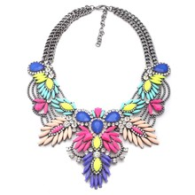 Brand 2017 Flower Statement Necklace Chunky Collar Women Cheap Boho Maxi Pendant Necklace Choker Collar Jewelry Christmas Gift