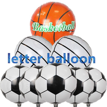 10pcs/lot 18inch Football Foil Balloon Soccer Volleyball basketball Helium Balloons Birthday party decoration Globos kid's toy.