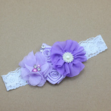 Varieties of Fabric Flowers with pearls and rhinestones and placed on a Stretchy Elastic Headband for Girl Hair Accessory