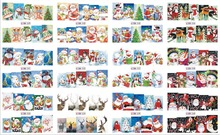 12 PACK/ LOT  WATER DECAL NAIL ART NAIL STICKER FULL COVER CHRISTMAS XMAS SANTA CLAUSE DEER BN229-240