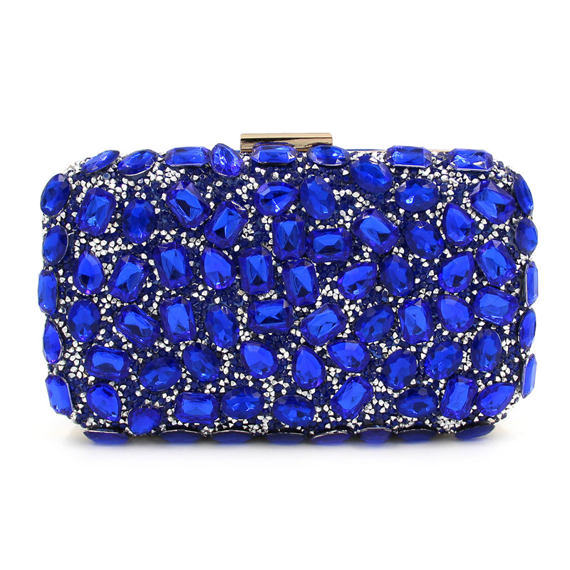 Fashion Leaves Pattern Luxury Champagne Crystal Diamond Clutch Bags Square Party Purse Female Pochette Box Evening Bag Handbags<br>