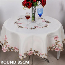 Round 85*85cm Cutwork Handmade Embroidered Table Cloth Topper Luxury Polyester Satin Jacquard Embroidery Floral Tablecloths(China)