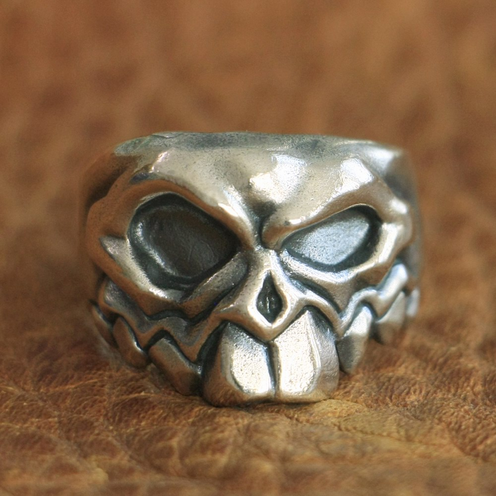 LINSION 925 Sterling Silver Front Tooth Skull Ring Mens Biker Ring TA107 US Size 7~15