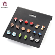 Danze 9 Pairs/lot Cute Fashion Resin Small Animal Fox Butterfly Stud Earrings Set For Children Women Aros Pendientes Kids Brinco