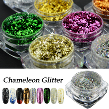 1 Bottle Holographic Nail Glitter Powder Gold Sliver Shinning Holo Flakes Chameleon Nail Art Tool Dust Tips Decoration JI326