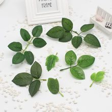 Hot sale 10 pcs/lot green artificial foliage handmade leaves for wedding diy home decoration scrapbooking artificial flower