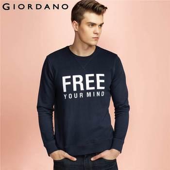 Giordano homens crewneck camisola com nervuras topo letra impressa camisola manga comprida pulôver marca clothing moleton masculino