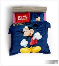 Blue Mickey Mouse Printed Comforters Bedding Sets Children's Boy's Bedroom 600TC Cotton Bed Covers Single Twin Full Queen Size