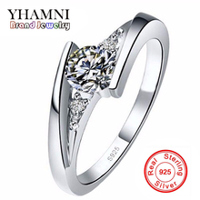 Sent Certificate of Silver!!! 100% Pure 925 Sterling Silver Ring Set Luxury 0.75 Carat CZ Diamond Wedding Rings for Women AR004