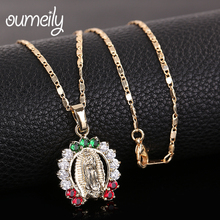 OUMEILY Hollow Bead Necklace pendant Women Vintage Fashion Israel Jewelry Arab Turkish Jewellery Virgin Mary Necklaces(China)