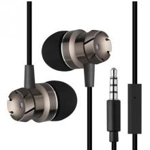 3.5mm Metal worm gear bass earphones wire belt computer supper bass mobile phone for MP3/MP4 Players With mic