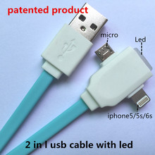 2 in 1 led usb cable Charging and data sync Applicable to coque asamsung galaxye trend lite cover huaweir g6 camara espia ace 16