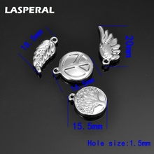 LASPERAL New 5PCs Trendy 316L Stainless Steel Charms Silver Color Double Side Animal Cross Starfish Feather Shape Charms Gift(China)