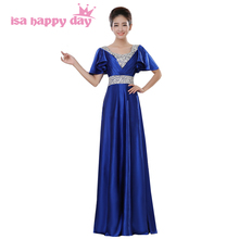 semi formal modest long special occasion blue cap sleeved bridesmaid dresses under 100 floor length gown satin dress H1382(China)