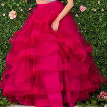 Custom Made 2017 Lush Ruched Tiered Organza Ball Gowns Floor Length Long Skirts For Women To Formal Party High Quality Clothing(China)