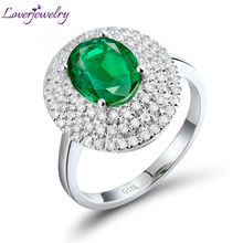 Luxury Emerald Gemstone Rings 7x9mm Oval Cut Solid 18K White Gold Anniversary Ring Diamond Jewelry for Women Birthday Gift(China)
