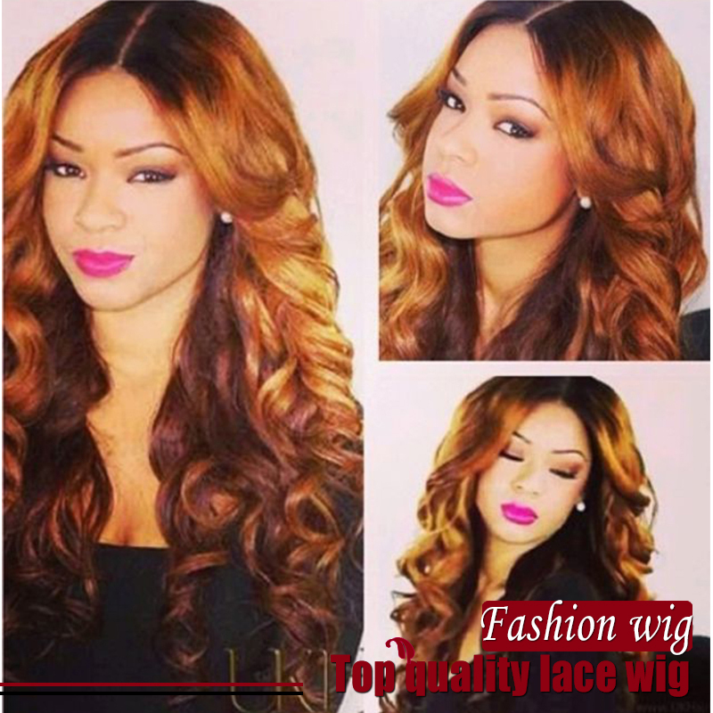 Free shipping ombre two tone color wig heat resistant lace front wig synthetic for black woman Brazilian hair lace front wig<br><br>Aliexpress