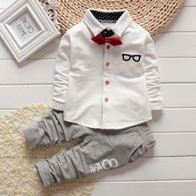 2017 new spring baby clothes gentleman baby boy shirt+overalls fashion baby boy girl clothes sets roupas de bebe(China)