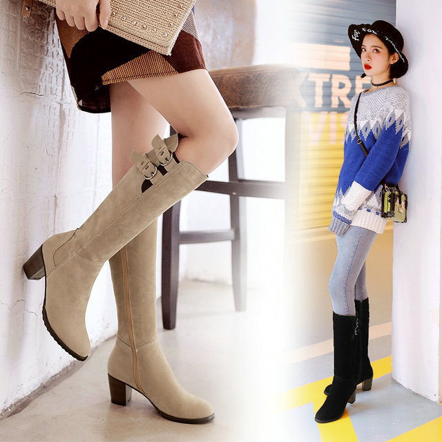 16 new fashion Faux Suede Stretch Slim women boots warm winter med heels Hoof shoes woman solid Knee High zipper boots size 43<br><br>Aliexpress