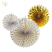 Nicro Gold Silver Dot Stripe Paper Fan Decoration Crinkle Fans Rosettes Pinwheel Backdrop For Wedding Shower Birthday Party(China)