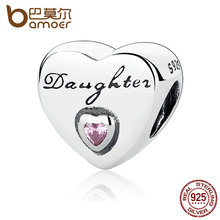 BAMOER Gift 925 Sterling Silver Daughter's Love, Pink CZ Bead Charms fit Bracelets Women High Quality Fine Jewelry PAS323(China)