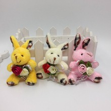 "2017 6cm(2.4"") Lovely Plush Sitting Bunny Rabbit With Flower Bag Jewel Craft/baby shower/decoration/bow Soft Toys"