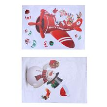 Christmas Decorations Static Decals Santa Snowman Deer Bell Window Stickers Snowman Santa Claus Christmas Static Sticker