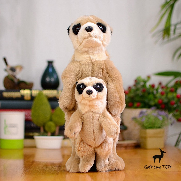 Stuffed Toy Simulation Wildlife  Plush  Kids Toys  Meerkats Doll  Mother and baby  Mongoose Gift Store<br>