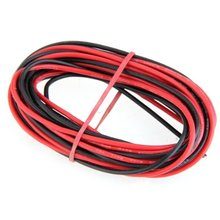 Promotion ! 2x 3M 18 Gauge AWG Silicone Rubber Wire Cable Red Black Flexible