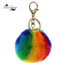 Furling 1pc Rainbow Color 9cm Faux Rabbit Fur Pom Pom Keychain Women Key Ring Mobile Iphone Charm(China)