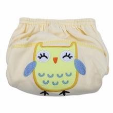 1pc Cartoon Baby Training Pants Washable Cotton Diapers Infants Reusable Waterproof Cloth Nappies Underwear Baby Learning Pants(China)
