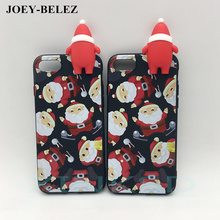 3D cute Christmas phone Cases For iPhone 6s 5 5s SE 7 Plus soft silicone case back cover for iPhone X case New Year Gift Capa(China)